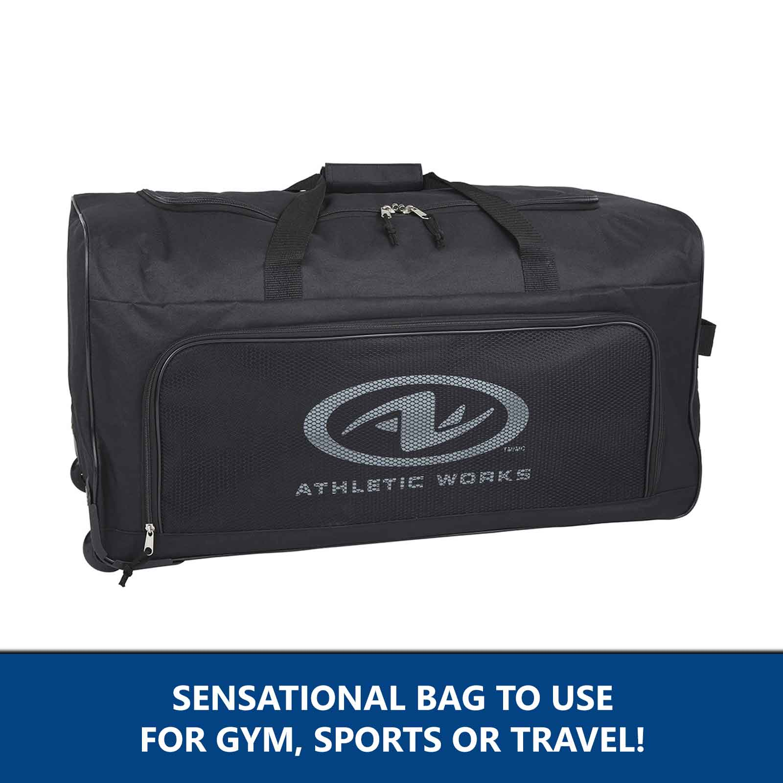 Large Duffle Bag with Wheels Black Mens Suitcase