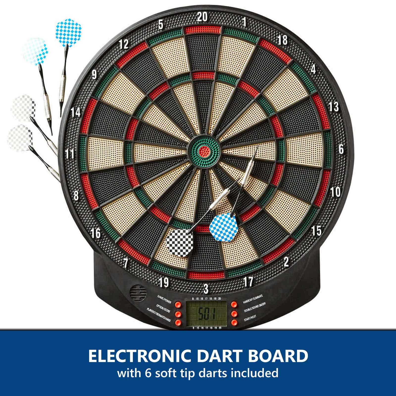 Electronic Dart Board Pro 6 Soft Tip Darts LED Digital Scoring Display Dartboard  eBay