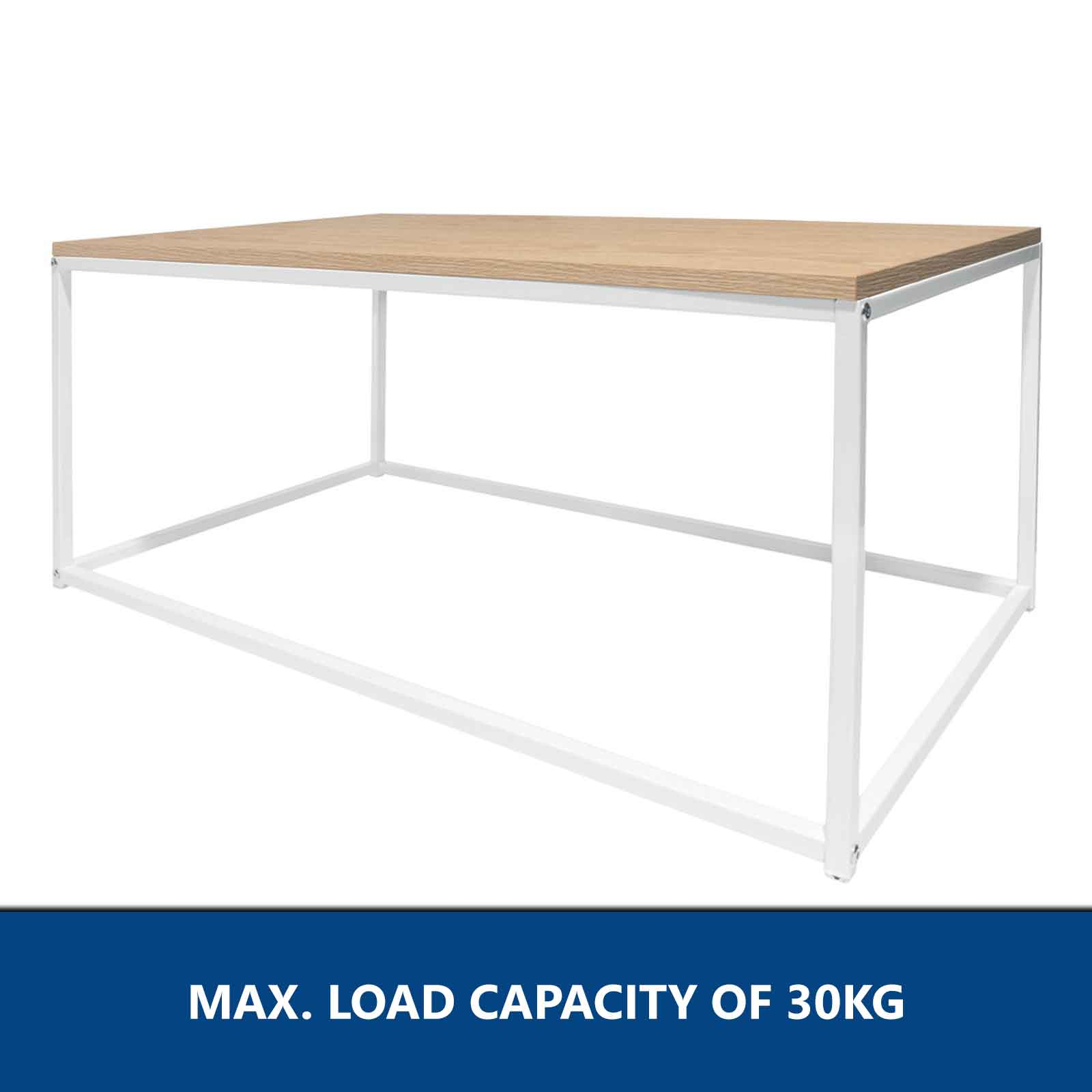Scandi Coffee Table White Steel Frame Side Display Home Office Furniture  Tables