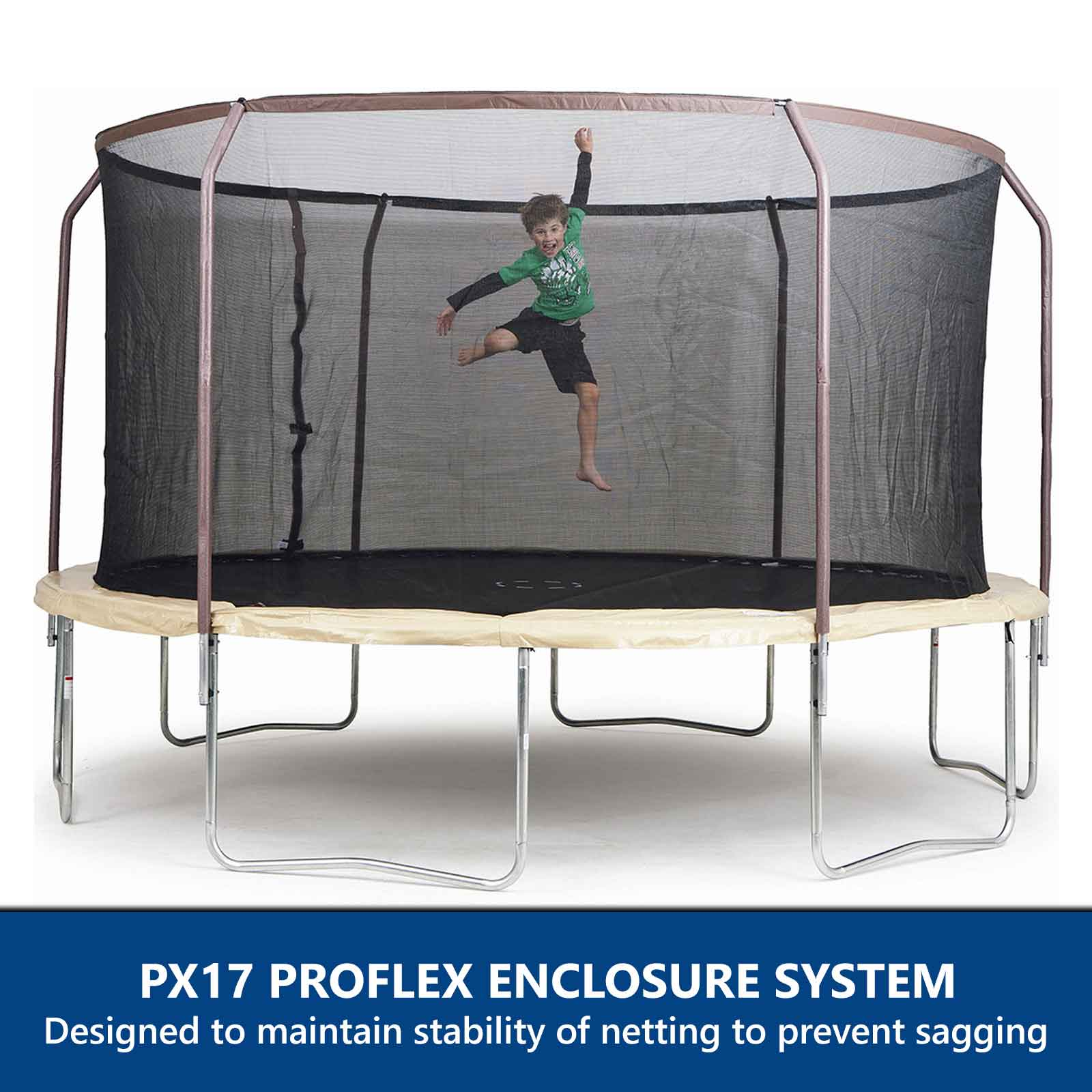 Airzone 14 Spring Trampoline And Enclosure Set: 14ft In-Ground Trampoline Steel Flex Pro Durable Enclosure